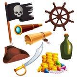 Insieme degli elementi del pirata Fotografie Stock