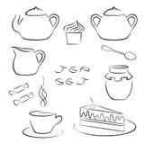 Insieme degli elementi del tè nero per la vostra progettazione Immagine Stock