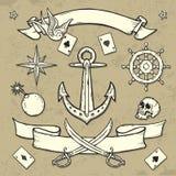 Insieme degli elementi del tatuaggio della vecchia scuola Immagini Stock Libere da Diritti