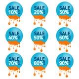 Insieme degli elementi dell'insegna Raccolta dell'etichetta di sconto, offerta speciale insegna stabilita di 90% - di 10% Fotografia Stock