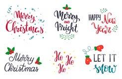 Insieme degli elementi dell'iscrizione della mano di Natale Lasciate esso nevicare Buon Natale Allegro e luminoso Nuovo anno feli Fotografie Stock