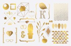 Insieme degli elementi dell'oro per progettazione illustrazione vettoriale