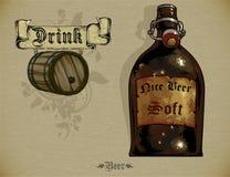 Insieme degli elementi della birra Fotografie Stock Libere da Diritti