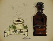 Insieme degli elementi della birra Fotografia Stock