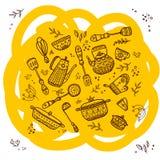 Insieme degli elementi della cucina Fotografia Stock Libera da Diritti