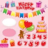 Insieme degli elementi della festa di compleanno per il vostro disegno Fotografie Stock Libere da Diritti