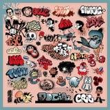 Insieme degli elementi della via dei graffiti illustrazione di stock