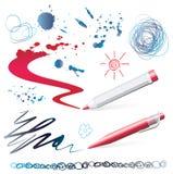 Insieme degli elementi di disegno Fotografie Stock