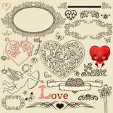 Insieme degli elementi di disegno del biglietto di S. Valentino Fotografia Stock
