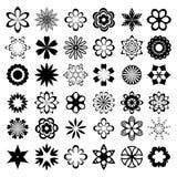 Insieme degli elementi di disegno del fiore Fotografie Stock Libere da Diritti