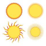 Insieme degli elementi di disegno del sole Fotografia Stock