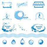 Insieme degli elementi di disegno dell'acqua Immagine Stock Libera da Diritti