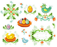 Insieme degli elementi di disegno di Pasqua Fotografia Stock