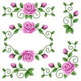 Insieme degli elementi di disegno floreale Immagini Stock