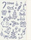 Insieme degli elementi di doodle di natale Immagini Stock