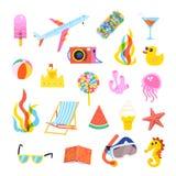 Insieme degli elementi di estate per il viaggio, la spiaggia, o i manifesti del partito Fotografie Stock Libere da Diritti