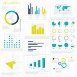 Insieme degli elementi di infographics nello stile piano moderno di affari illustrazione di stock