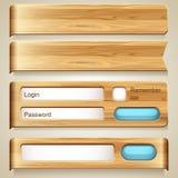 Insieme degli elementi di legno per progettazione Fotografia Stock Libera da Diritti