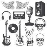 Insieme degli elementi di musica di rock-and-roll illustrazione vettoriale