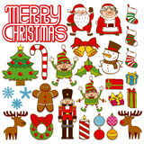 Insieme degli elementi di Natale isolati su fondo bianco illustrazione di stock