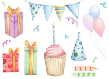 Insieme degli elementi di progettazione di compleanno di scarabocchi royalty illustrazione gratis