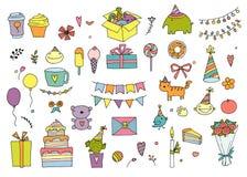 Insieme degli elementi di progettazione di compleanno di scarabocchi Ghirlande e palloni disegnati a mano, note di musica, conten illustrazione di stock
