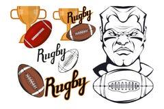 Insieme degli elementi di progettazione del giocatore di football americano Giocatore disegnato a mano di rugby Calciatore del fu Immagine Stock Libera da Diritti