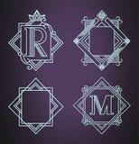 Insieme degli elementi di progettazione del monogramma, modello grazioso Illustrazione di vettore Fotografia Stock