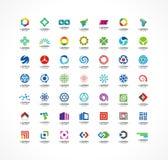 Insieme degli elementi di progettazione dell'icona Idee astratte di logo per la società di affari Finanza, comunicazione, eco, te Immagini Stock