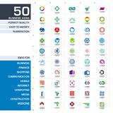 Insieme degli elementi di progettazione dell'icona Idee astratte di logo per la società di affari Finanza, comunicazione, eco, te Fotografia Stock