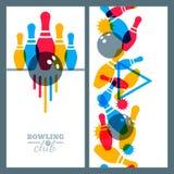 Insieme degli elementi di progettazione dell'insegna, del manifesto, dell'aletta di filatoio o dell'etichetta di bowling Fotografia Stock