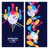 Insieme degli elementi di progettazione dell'insegna, del manifesto, dell'aletta di filatoio o dell'etichetta di bowling Fondo ne illustrazione di stock