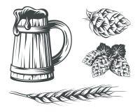 Insieme degli elementi di progettazione delle componenti della birra Fotografia Stock Libera da Diritti