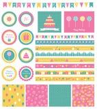 Insieme degli elementi di progettazione di compleanno Immagine Stock