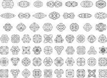 Insieme degli elementi di progettazione geometrica e delle decorazioni ornamentali della pagina Immagini Stock