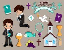 Insieme degli elementi di progettazione per la prima comunione per i ragazzi Immagine Stock