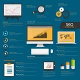 Insieme degli elementi di SEO Infographic per l'affare Fotografia Stock Libera da Diritti