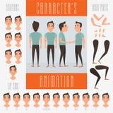 Insieme degli elementi di vettore per l'animazione del carattere Fotografia Stock