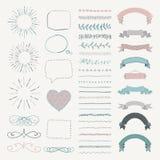 Insieme degli elementi disegnati a mano decorativi di progettazione di vettore Fotografie Stock