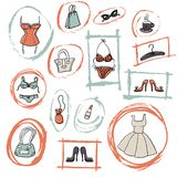 Insieme degli elementi disegnati a mano dei accessoiries del ` s delle donne Fotografie Stock Libere da Diritti