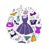 Insieme degli elementi disegnati a mano dei accessoiries del ` s delle donne Immagini Stock Libere da Diritti