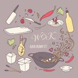 Insieme degli elementi disegnati a mano del ristorante del wok Alimento dell'asiatico di scarabocchio Fotografia Stock