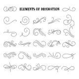 Insieme degli elementi disegnati a mano di flourish Illustrazione di vettore Elementi della decorazione Immagine Stock Libera da Diritti