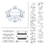 Insieme degli elementi disegnati a mano di flourish Illustrazione di vettore Elementi della decorazione Fotografia Stock Libera da Diritti