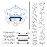 Insieme degli elementi disegnati a mano di flourish Illustrazione di vettore Elementi della decorazione Fotografie Stock Libere da Diritti