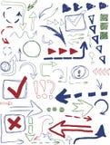 Insieme degli elementi disegnati a mano di progettazione Fotografie Stock Libere da Diritti