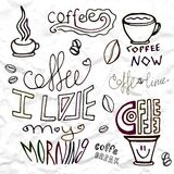 Insieme degli elementi disegnati a mano di tema del caffè, illustrazione di vettore Immagini Stock Libere da Diritti