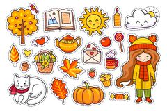 Insieme degli elementi disegnati a mano svegli di autunno illustrazione di stock