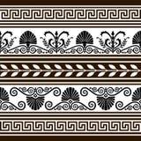 Insieme degli elementi e dei bordi antichi di vettore illustrazione di stock