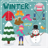 Insieme degli elementi e delle illustrazioni di inverno Fotografie Stock Libere da Diritti